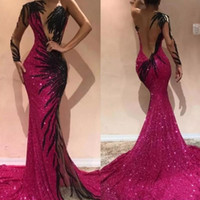 Sparkly Fuchsia Sequined Mermaid Prom Dresses 2019 Sexy One ...
