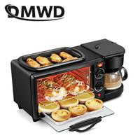 DMWD hogar eléctrico 3 en 1 desayuno que hace la máquina multifunción Mini goteo café pan Pizza horno sartén tostadora
