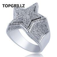 Topgrillz Hip Hop Cinque stelle Anelli da uomo in oro argento colore ghiacciato cubico zircone anello gioielli regali Y19062004