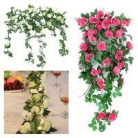 Artificielle rose fleur vigne décorations de mariage de la soie rose wisteria fleur rattan maison jardin bricolage guirlande fête table table de centre décoratif