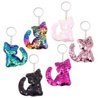 12 stücke Katze Keychains Bunte Pailletten Glitter Key Halter Schlüsselanhänger Schlüsselanhänger Für Auto Schlüssel Mobiltelefon Einkaufstasche Handtasche Charme