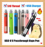 2 stücke Authentic ugo v II v2 650 900mAh Evod EGO 510 Thread Vape Pen-Kartusche Batterie + Micro USB-Kabel-Ladegerät Wiederaufladbare Verdampfer-Stift