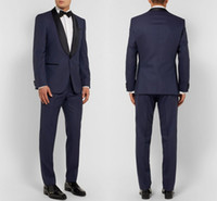 2019 Navy Blue Men Wedding Suits Custom Made Slim Fit Weddin...