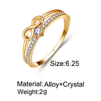 Lucky Number 8 Pierścień Kreatywny Prosty Inkrustowany Pierścień Kryształowy Kobiety Nieskończoność Złota Pierścień Biżuteria Rozmiar 6 7 8 9