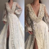 Illusion Robes De Bal 2019 Manches Longues Perles Dentelle Paillettes Shinning Avant Split Robe De Soirée Sexy Personnaliser Celebrity Party Robes