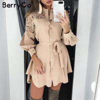 Повседневные платья Берриго кружева женщины рубашка чистая сетка вышивка с длинным рукавом кнопки офисные дамы твердые поясними летнее мини