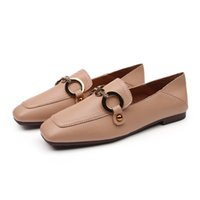 Modo delle donne dei pattini degli appartamenti scivolare su scarpe di cuoio fannulloni marca Slipper punta quadrata Office Lady scarpe casual Mocassini Zapatos Mujer