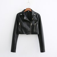 Black Motorcycle Women Leather Jacket 2019 Autumn PU Biker Jackets Rivet Zipper Long Sleeve Crop Top Coat Casual Casaco Femme