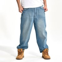 Blue Men Jeans larghi Hip Hop Marchio di Skateboard pantaloni larghi Style Plus Size 30-46 HipHop Rap Jeans Boy Pantaloni