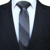 2c26fa6ae02d6 Mode Qualité Cravate Slim 6cm Noir Gris Maigre Étroite Gravata Soie  Jacquard Cravates Tissées Pour Les Fêtes De Mariage