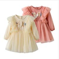 Bebé de Tulle del acoplamiento de la princesa del vestido del bebé ropa de las muchachas de flor del partido recién nacido Vestidos bordado de manga larga para niños pequeños vestidos de Ropa de bebé A6257