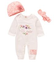 New Baby Boy Girl macacãozinho Jumpsuit Manga comprida infantil Macacão + chapéu + designer de cabeça 3Pcs Outfit crianças recém-nascidas roupa do bebê
