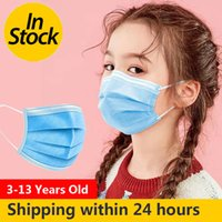 DHL Shipping 3 layer Disposable Elastic Kids Face Mouth Mask Anti Dust Breathable Blue Soft Hygiene Child Kids Face Mask Dropshipping