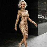 2020 Elegante Gold Pailletten Naher Osten Cocktailkleider Tee Länge Abschlussball Kleid Formale Verschleiß Party Kleider Abendkleider Robe de Soiree