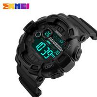 SKMEI Außen Sport-Uhr-Mann-Multifunktions 5Bar wasserdicht PU-Bügel-LED-Anzeigen-Uhren Chrono Digitaluhr reloj hombre 1243