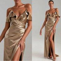 Sexy Champagne élégante sirène robes de soirée Halter col haut fendus bal Robes balayage train robe de bal Ogstuff Robes de soirée