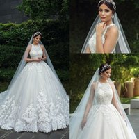 Arapça Mürettebat Boyun Dantel Gelinlik 2020 Tül Aplike Boncuklu Hollow Sweep Tren Düğün Gelinlik elbiseler de mariée