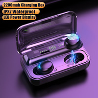F9-5 Cuffie wireless 5C TWS Bluetooth 5.0 Auricolari 2200mAh Casella di ricarica con microfono Sport Auricolari impermeabili Auricolari