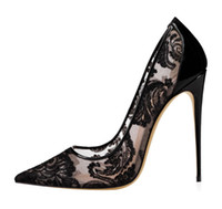 2019 Black Lace High Heel Wedding Shoes For Bride Stilettos ...