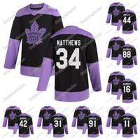Frauen Toronto Maple Leafs gegen Krebs Praxis Schwarz Jersey Mitch Marner Tavares Matthews Frederik Andersen William Nylander Zach Hyman