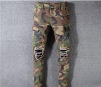 Camo Jeans New Verão Moda Mens rasgado Biker Pants Casual Hip Hop Jeans para Jeans Calças Jeans longas