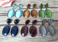 Pendientes de ópalo de forma ovalada, aretes de piedra de circón de cristal CZ, micro pave cuelgan joyas para mujeres ER185