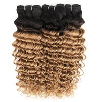 3 번들 깊은 웨이브 T1B27 꿀 금발 옴 브레 헤어 컬러 브라질 곱슬 머리 페루 인도 인간의 머리 되죠