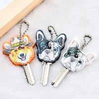 새로운 이국적인 귀여운 실리콘 불독 강아지 키 커버 캡 키 체인 여성 여자 키즈 키 링 선물 Porte Clef Key Chain