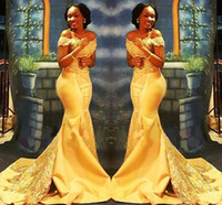 النيجيري الأصفر حورية البحر فستان حفلة موسيقية أفريقيا 2020 معطلة الكتفين الرباط مطرزة الحرير مساء الحفلة الراقصة فساتين العربية
