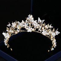 Brautkronen für Hochzeit Brautjungfer Blumenmädchen Kristall Tiara Strass Krone Stirnband Hochzeitskleid Studio Tiara Butterfly 35 * 6,5 cm