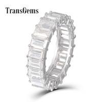 Transgems Smaragd Enternity Wedding Band 18k Weißgold 3x5mm Fg Farbe Smaragd Schneiden Moissanite Diamant-Hochzeit Ring für Frauen Y19032201