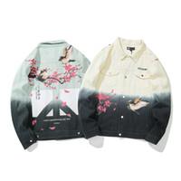 Männer Jacken Herren Herbst Blue Denim Japanische Straße Birdie Pflaumen Blüte Graffiti Jeans Mantel Hip Hop Streetwear Mäntel Outwear
