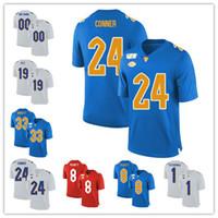 Personalizado NCAA Pittsburgh Panteras Jersey de futebol Qualquer nome Número Pitt 24 Conner 97 Aaron Donald 12 P.Ford Pitt 25 Darrelle Revis Blue Branco