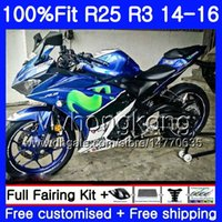 Cuerpo de inyección para Yamaha YZF R3 R25 Movistar azul yzf-r3 yzfr25 14 15 16 17 240hm.2 YZF-R25 R 25 YZFR3 2014 2015 2015 2017 Kit de carenajes