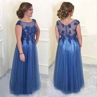 2019 Blue Illusion Mother Of The Bride Dresses Sheer Straps ...