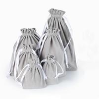 20 шт. упаковка серый бархат мешок пользовательские логотип печати мешок Оптовая шнурок сумки для свадьбы подарки мешок высокое качество