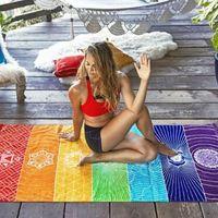 70 * 150cm Polyester Badetuch Decke Unisex Yoga Handtuch Rainbow Color Bohemian Badetuch Strand-Schal CCA11125 20pcs