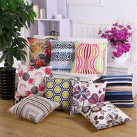 45x45cm Square Polyester Geometric Striped Printed Throw Pil...