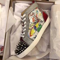 Paillettes di lusso con graffiti Punte Strass High Top Sneakers Red pattini inferiori Famous Men Walking festa di nozze con la scatola, EU35-46