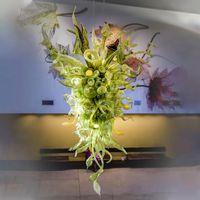 الثريات مصمم العرف الحديثة فريد اللون الأخضر اليد في مهب فن الزجاج فاخرة كبيرة بهو الفندق للبيع