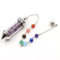 5 piezas Péndulo para Dowsing Wish Wish Bottle Colgante con perlas Cadena Lapis Muchos colores Joyería de piedra de cuarzo