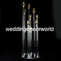 Neue Kandelaber Kristall Kandelaber Hochzeit Mittelstücke 8 Arme Acryl Clear Candle Holder Gold Candlesticks decor1095