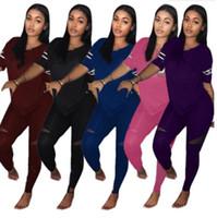 Para mujer diseñador chándal trajes de manga corta sudadera con capucha legging 2 piezas conjunto sudadera delgada medias deporte traje pullover pantalones klw20