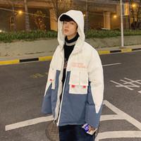 Herren Down Parkas Männer Patchwork White Parka 2021 Mit Kapuze Wintermantel Herren Japanische Streetwear Jacke Koreanische dicke Harajuku Kleidung