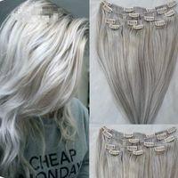 Клип в наращивание волос реальные человеческие волосы серебристо-серый цвет клип на полную голову 7 шт. 120 г шелковистая прямая уток Реми волос