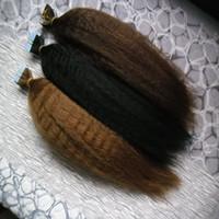 Tape In Extensions de cheveux humains couleur pure crépus 40pcs droites gros yaki Double Drawn Remy Hair Invisible peau Trame PU bande sur cheveux