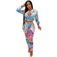 섹시한 2 조각 세트 여성 가을 새로운 긴 소매 지퍼 탑 + 탄력있는 바지 슬림 두 조각 패션 인쇄 복장 나이트 클럽