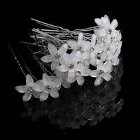 20 adet Kristal Rhinestone Çiçek Saç Pin Klipler Kadınlar Düğün Gelin Saç Spiral Tokalar Moda Takı Toptan