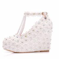 Scarpe da sposa in pizzo bianco fatto a mano con cinghie con fibbia T-Strap 11 cm con tacco alto tacco da sposa scarpe da sposa scarpe da donna in cristallo Delle pompe