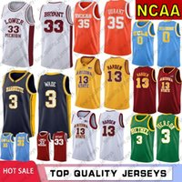 NCAA Dwyane Wade 3 Colégio Mens Basketball Jerseys Kobe Bryant 33 Allen Iverson 3 James Harden 13 Kevin 35 Durant Russell Westbrook 0 S-XXL
